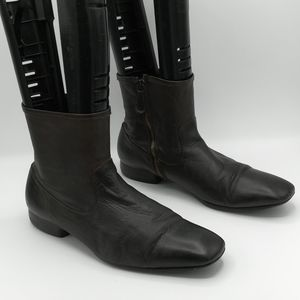 H by Hudson Brown Leather Zip Up Boots 42